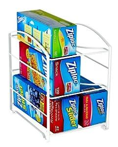 """DecoBros Kitchen Wrap Organizer Rack, White (Large, 3-3/4"""" BOX)"""