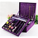 KLOUD City ® Purple two-layer lint jewelry box organizer display storage case with lock