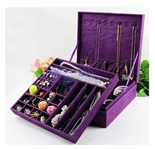 Kloud City ® Purple Two-Layer Lint Jewelry Box Organizer Display Storage Case With Lock