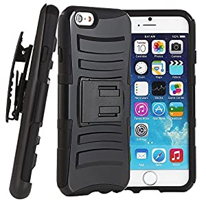 5s Case, iPhone 5s Case, VAKOO® iPhone 5s 5 Belt Clip 3-in-1 Combo Holster Case Set Shockproof Drop Proof Heavy Duty Rugged Soft Silicone Dual Layer Armor Stand Case with Locking Belt Swivel Clip Viewing Kickstand for Apple iPhone 5 iPhone 5s BLACK
