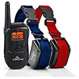 ObeDog 330 Yards Stride Dual Rechargeable & Weatherproof Dog Training Collar with Amber LCD Remote - Vibration / Static Shock / Tone Training Stimulations for All Dogs