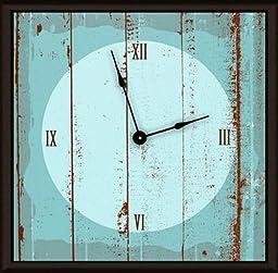 Green Leaf Art Blue Wood Art Clock
