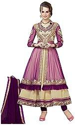 Begum Riwaaz Women's Georgette Unstitched Dress Material (4501, Beige & Purple)