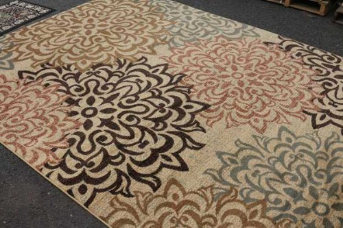 New City Contemporary Brown and Beige Modern Floral Flowers Area Rug, 5-Inch x 8-Inch