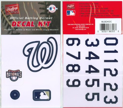 Washington Nationals MLB Batting Helmet Decal Kit (Includes Official Team Logos Stickers, MLB Logo & Numbers for Youth Little League Players to Adult Recreation Players at Amazon.com