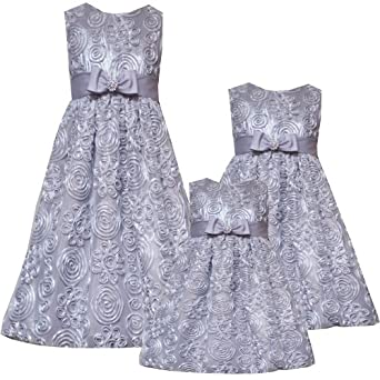 Size-24M RRE-40270H 2-Piece SILVER SOUTACHE MESH OVERLAY Special Occasion Wedding Flower Girl Easter Birthday Party Dress,H140270 Rare Editions INFANT
