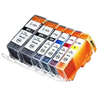 6-Pack Canon CLI-221 Compatible Inkjet Cartridges Combo with Chip