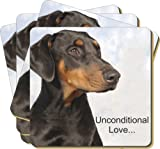 4x Doberman Pinscher-With Love Picture Coasters Gift Set, Ref:AD-DM1uC