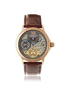 Stuhrling Original Men's 470.3345K54 Brown Skeleton Dial Stainless Steel and Leather Watch