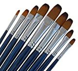 ARTIST PAINT BRUSHES - Fr - Professional Quality Black Tip, Golden Nylon, Long Handle, Filbert Paint Brush Set - Ideal for Acrylic Painting and Oil Painting, and Equally Useful for Watercolor Painting and Gouache Color Painting. - The Natural Characteristics of the Golden Nylon Offers Excellent Liquid Holding Capacity and an Easy, Smooth Flow of Paint. The Fine Filbert Head Paintbrushes Have a Luxurious Feel and Excellent Durability, Whilst Good Shape Holding Properties.