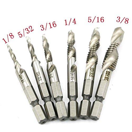 Yakamoz 6PCS SAE Drill Tap Combination Bit Set HSS M3-M10 Deburr Countersink Bit 1/4 Hex Shank Tool Kit