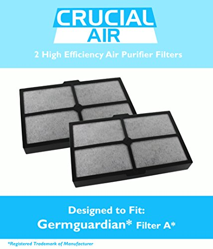 2 Replacement GermGuardian / Germ Guardian A Filter Fits Table Top Air Cleaning System AC4010, Compare to Part # FLT4010, Designed & Engineered by Crucial Air