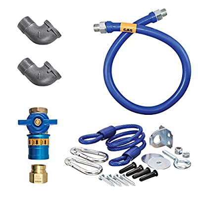 "Dormont 1675KITCF72 Deluxe Safety Quik® 72"" Gas Connector Kit with Two Elbows and Restraining Cable - 3/4"" Diameter"