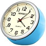 Movebest 置き時計 ミニ時計 ブルー 車用 小型 クオーツ時計 アナログ表示 かわいい