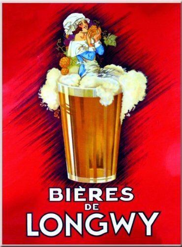 FRENCH VINTAGE METAL SIGN 20X15cm RETRO AD ALCOHOL LONGWY BEER - M823 polished metal sign brushed stainless steel sign golden mirror finished metal letter