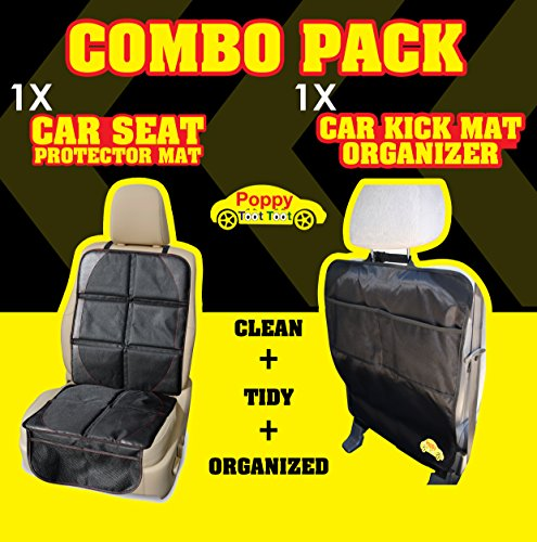 child car seat protector mat plus car kick mat organizer auto combo pack protect the back seat. Black Bedroom Furniture Sets. Home Design Ideas