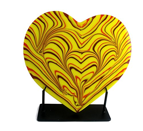 fosters-beauties-yellow-combed-fused-glass-heart-sculpture-with-red-orange-accents