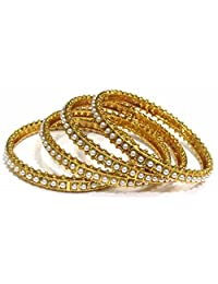 Shingar Jewellery Ksvk Jewels Antique Gold Plated Polki Kundan Bangles Set In 2.4 Size For Women (8193-m-2.4-1...
