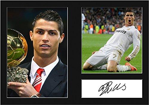 Ronaldo-Real Madrid Imprimé Signé photo montage A4