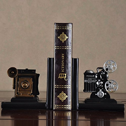 HEYFAIR Retro Camera Bookends Racks Book Ends Sets Bookshelf Organizers(1 pair) 1