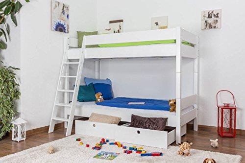 Lit pour enfant / Lit superposé Martin en hêtre massif peint en blanc, sommier à lattes déroulable inclus - 90 x 200 cm