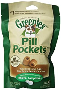 Greenies 6-Pack 30-Piece Canine Dog Treat with Pill Pocket for Tablet, Peanut Butter