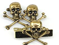 Steampunk SKULL & CROSSBONES Gothic Men Tie Bar and cufflinks Clip Steam Punk