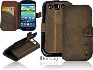Burkley BOOK-G6-S3 Burkley Premium Leder Book Case Tasche für Samsung Galaxy S3 i9300 i9305 maßgefertigtes Wallet Cover Etui Schutzhülle mit EC-/ Kreditkartenfach und Stand Funktion in dark Brown - bi-color