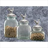 Clear Glass Kitchen Canister Set Pewter Rooster Lids