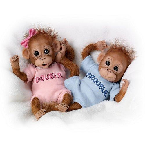 The Ashton-Drake Galleries: Double Trouble Monkey Doll Set by The Ashton-Drake Galleries