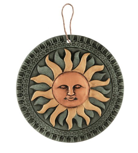 Terracotta sun hanging wall art plaque