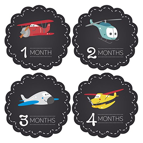 Pinkie Penguin Baby Monthly Stickers - Airplanes Chalkboard - Milestone Onesie Stickers - 1-12 Months - Baby Shower Gift