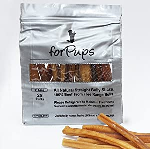 forPups 6 inch Bully Sticks (25 per Pack) (6 Inch)