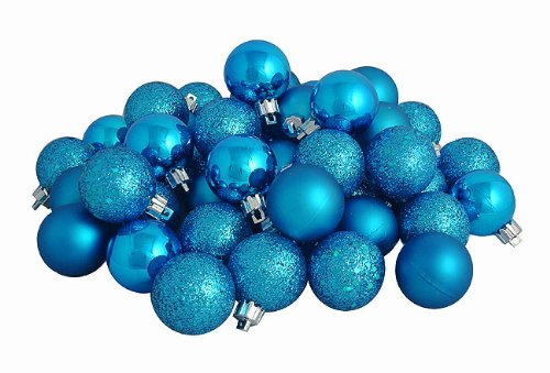 96ct Turquoise Blue Shatterproof 4-Finish Christmas Ball Ornaments 1.5″ (40mm)