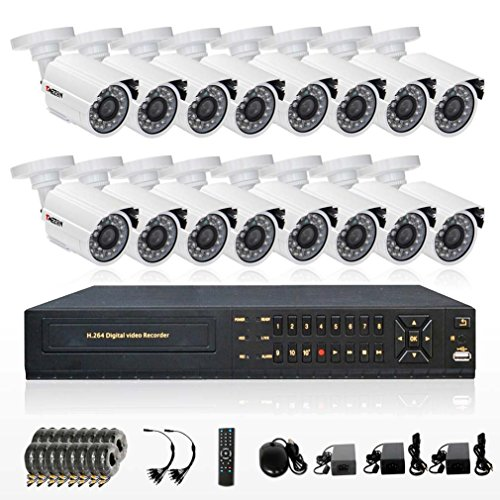 Tmezon 16Ch Full 960H D1 Realtime Cctv Security Dvr Hdmi 1080P Output 800Tvl With Ir Cut Infrared Leds Hi-Resolution Outdoor Security Surveillance Cameras Weatherproof Smartphone Scan Qr Code Quick Remote Access