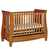 Tutti Bambini Katie Oak Dropside Sleigh Cot, Mattress and Luxurious Sheepskin Floor Rug Set