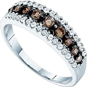 10K White Gold White and Brown Diamond Ladies Anniversary Fashion Ring Band (1/2 cttw G-H Color I1 Clarity)