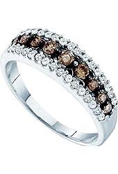 10K White Gold White & Brown Diamond Ladies Anniversary Fashion Ring Band 1/2 cttw