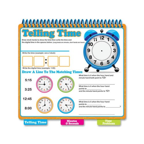 Board Dudes 99143UA4 Dry-Erase Learning Book, Tell Time, Assorted