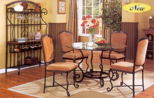 5 pc Dining Table & Chairs Set in Wrought Iron Metal