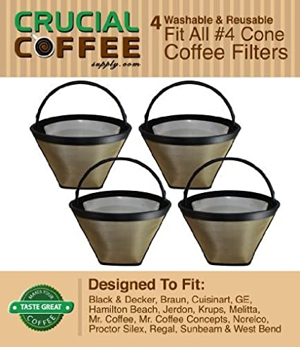 4-Washable-&-Reusable-Coffee-Filters-#-4-Cone-Fit-Black-&-Decker,-Braun,-Cuisinart,-GE,-Hamilton-Beach,-Jerdon,-Krups,-Melitta,-Mr.-Coffee,-Mr.-Coffee-Concepts,-Norelco,-Proctor-Silex,-Regal,-Sunbeam-&-West-Bend,-Designed-&-Engineered-by-Crucial-Coffee