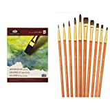 Royal Langnickel Watercolour Artist Pads with Royal and Langnickel Sable Super Value Brush Set 1 Pack of 10 brushes