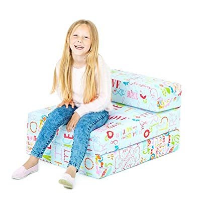 Hello There Print Children's Single Fold Out Foam Z Bed Guest Mattress Chair Bed