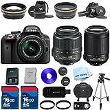 Nikon D3300 24.2 MP CMOS Digital SLR with 18-55mm f/3.5-5.6 AF-S VR Lens (Black) + 55-200mm VR Lens + 2 High Speed 16GB Memory Cards + 50 Tripod + 10pc Bundle - International Version