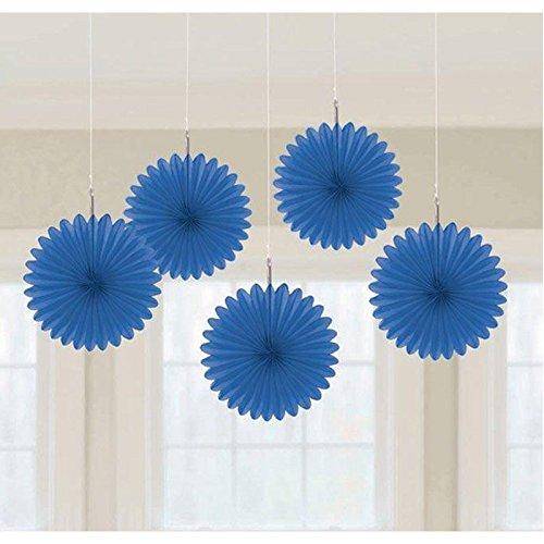 "Amscan Mini Hanging Fan, 6"", Bright Royal Blue - 1"