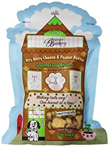 Becca's Barkery Ittty Bitty Cheese & Peanut Butter Dog Biscuits, 10-Ounce Bags (Pack of 6)