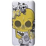 HTC Desire 610 Case - White Hard Plastic (PC) Cover with Yellow & Black Skull Gun Design