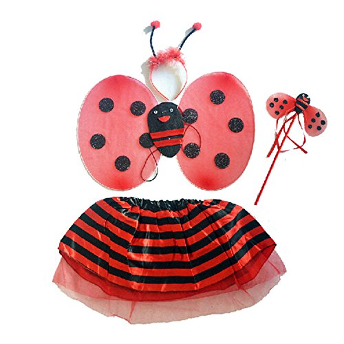 Cute Ladybug Style Children Kids Dresses Costume for Halloween Cosplay Party