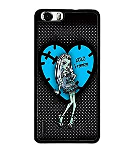 PrintDhaba XOXO Girl D-2076 Back Case Cover for HUAWEI HONOR 6 (Multi-Coloured)