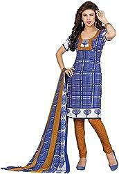 K.K BROTHERS Women's Crepe Dress Material (Blue)